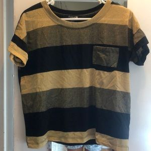 Black and gold wide striped t shirt with pocket